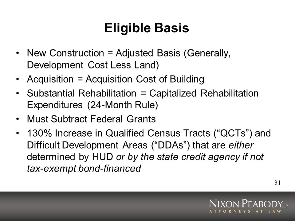 31 Eligible Basis New Construction = Adjusted Basis (Generally, Development Cost Less Land) Acquisition = Acquisition Cost of Building Substantial Rehabilitation = Capitalized Rehabilitation Expenditures (24-Month Rule) Must Subtract Federal Grants 130% Increase in Qualified Census Tracts (QCTs) and Difficult Development Areas (DDAs) that are either determined by HUD or by the state credit agency if not tax-exempt bond-financed