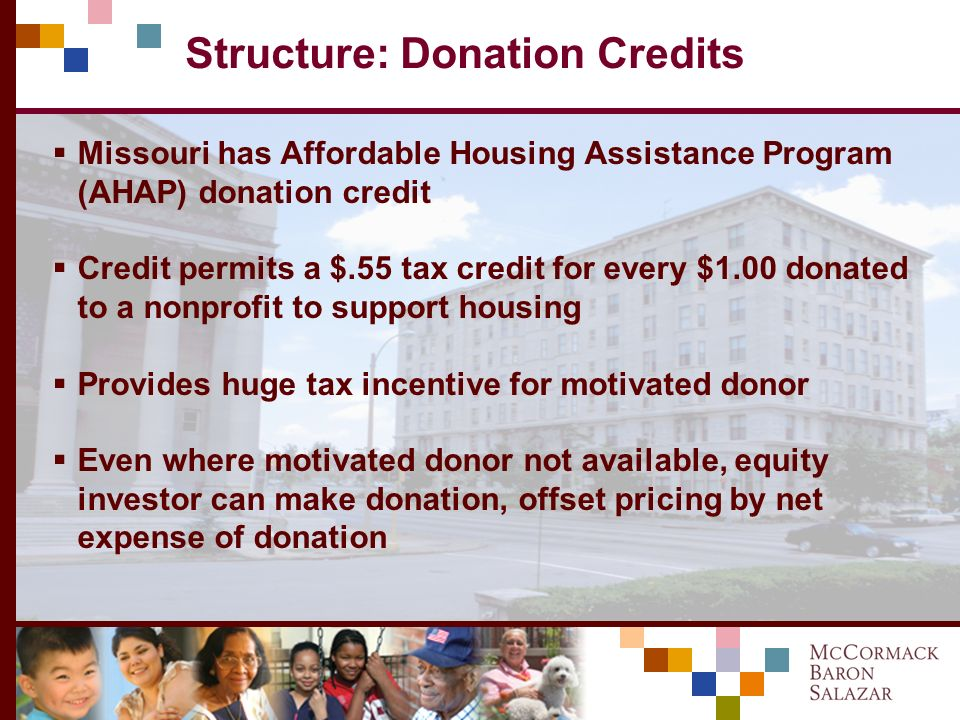 Structure: Bonds, 4% LIHTCs Bonds unlock 4% credits, act as inexpensive bridge for equity In addition, project needed permanent first mortgage Borrowe