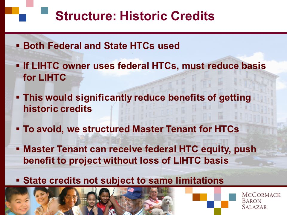 Structure: Donation Credits Missouri has Affordable Housing Assistance Program (AHAP) donation credit Credit permits a $.55 tax credit for every $1.00 donated to a nonprofit to support housing Provides huge tax incentive for motivated donor Even where motivated donor not available, equity investor can make donation, offset pricing by net expense of donation