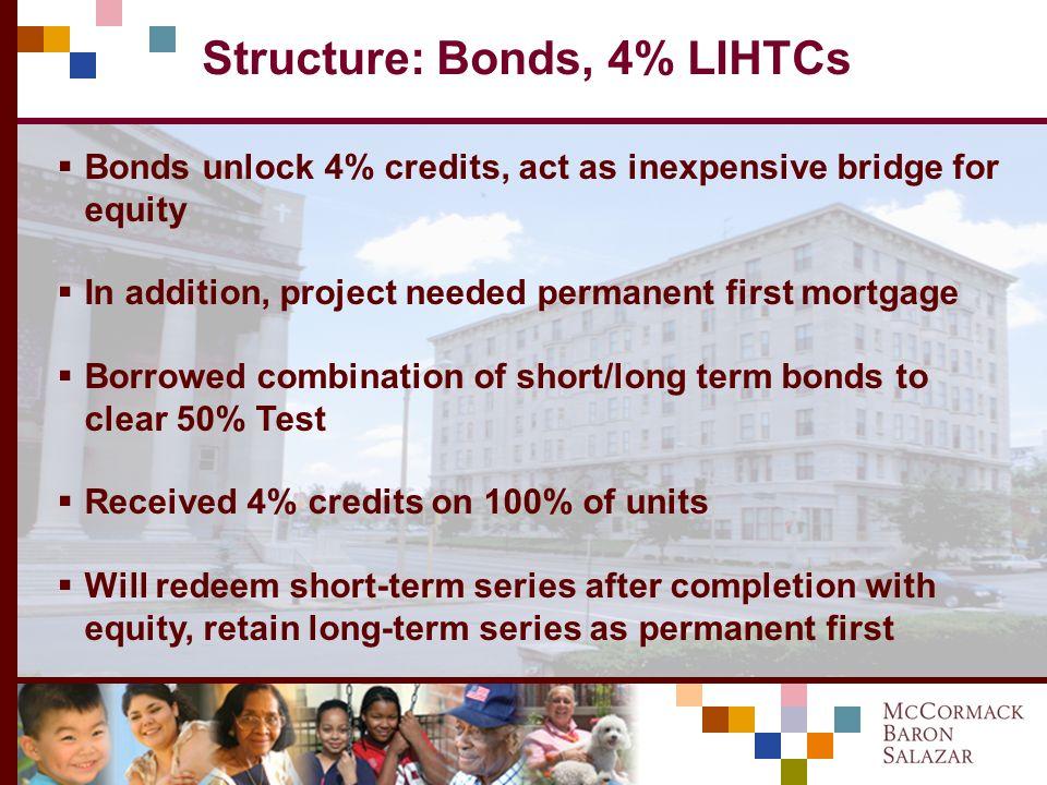 Structure: Finance Participants U.S. Bank CDC – LIHTC/HTC equity National City – HTC equity Missouri Housing Development Corp – LIHTCs Enterprise Bank