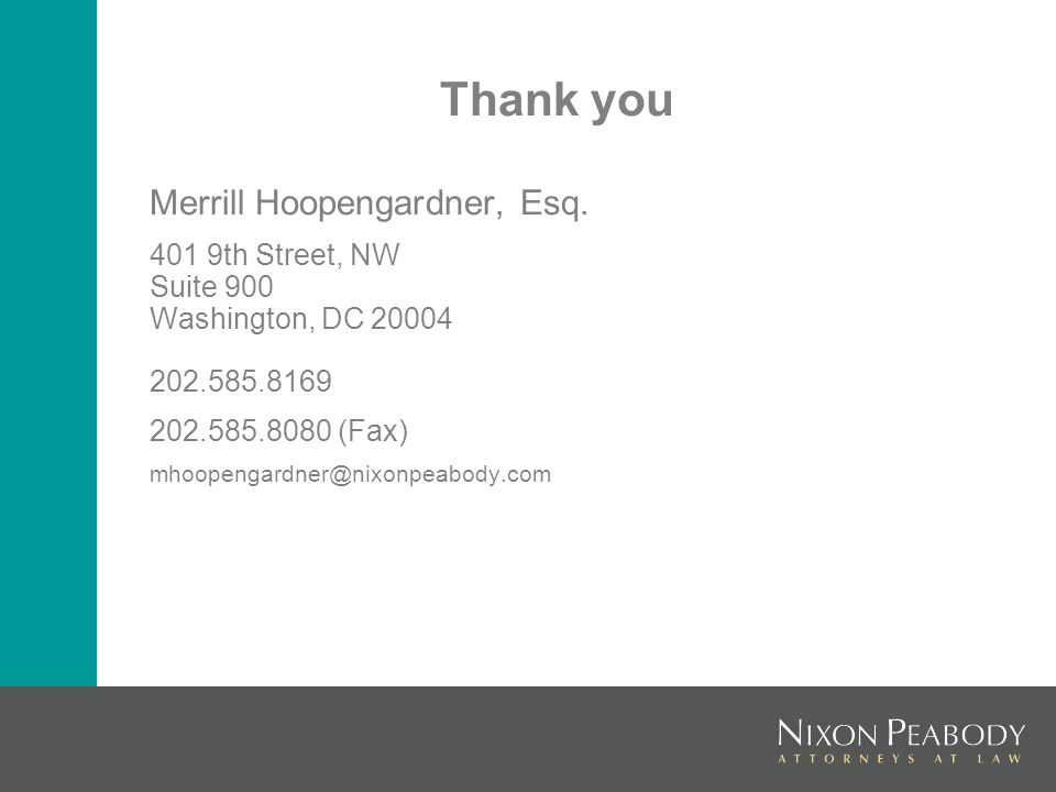 Thank you Merrill Hoopengardner, Esq.