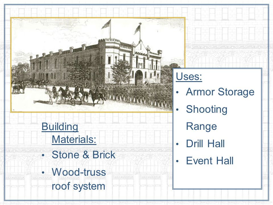 Building Materials: Stone & Brick Wood-truss roof system Uses: Armor Storage Shooting Range Drill Hall Event Hall