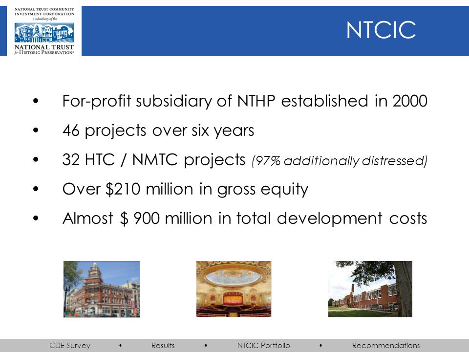 CDE Survey Results NTCIC Portfolio Recommendations NTCIC For-profit subsidiary of NTHP established in 2000 46 projects over six years 32 HTC / NMTC projects (97% additionally distressed) Over $210 million in gross equity Almost $ 900 million in total development costs