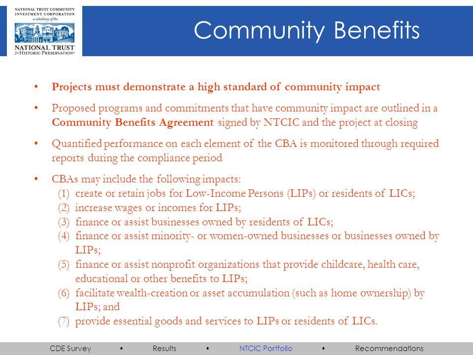 CDE Survey Results NTCIC Portfolio Recommendations AVANCE San Antonio, TX Non-profit office space Net equity: $824,974