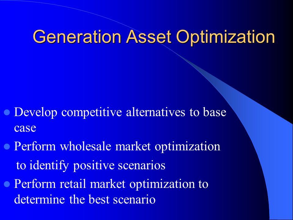 Generation Asset Optimization Generation Asset Optimization Develop competitive alternatives to base case Perform wholesale market optimization to identify positive scenarios Perform retail market optimization to determine the best scenario