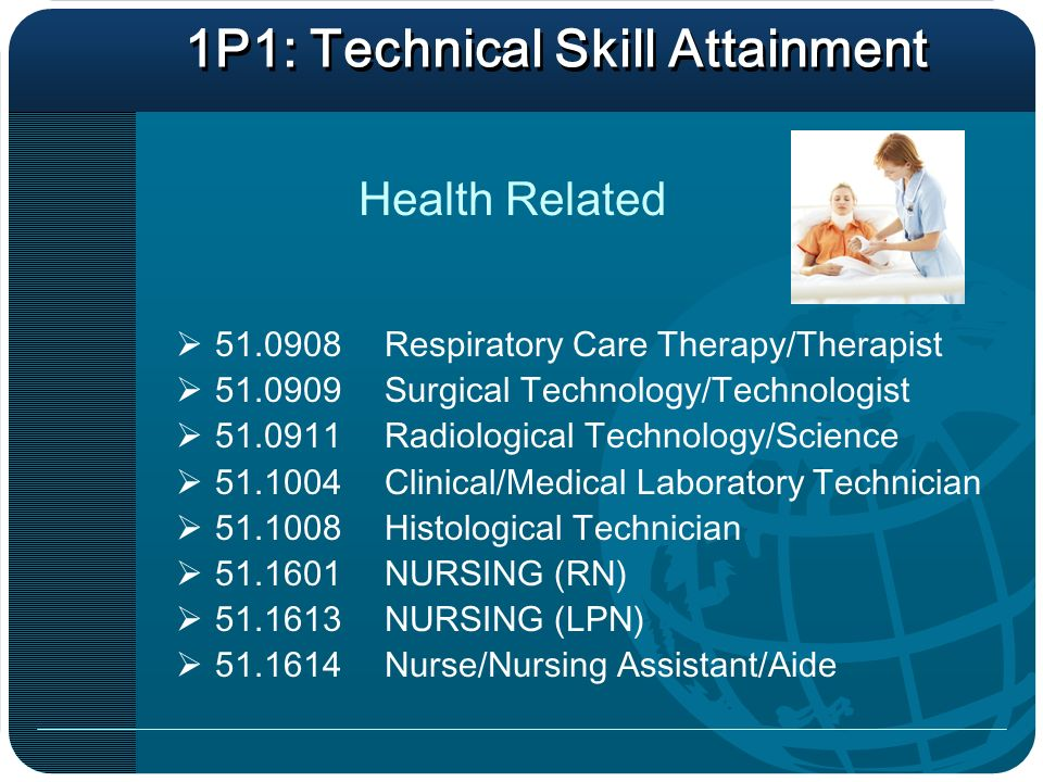 1P1: Technical Skill Attainment Respiratory Care Therapy/Therapist Surgical Technology/Technologist Radiological Technology/Science Clinical/Medical Laboratory Technician Histological Technician NURSING (RN) NURSING (LPN) Nurse/Nursing Assistant/Aide Health Related