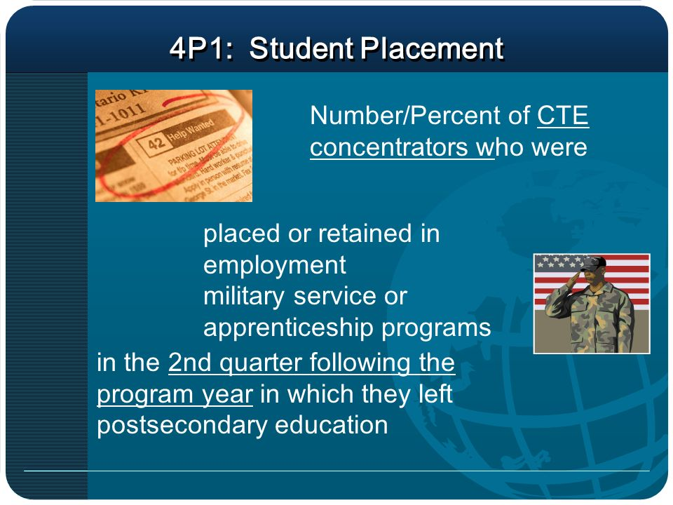 4P1: Student Placement Number/Percent of CTE concentrators who were in the 2nd quarter following the program year in which they left postsecondary education placed or retained in employment military service or apprenticeship programs