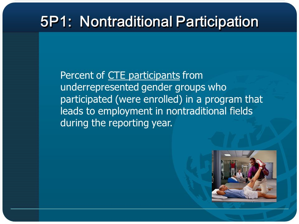 5P1: Nontraditional Participation Percent of CTE participants from underrepresented gender groups who participated (were enrolled) in a program that leads to employment in nontraditional fields during the reporting year.