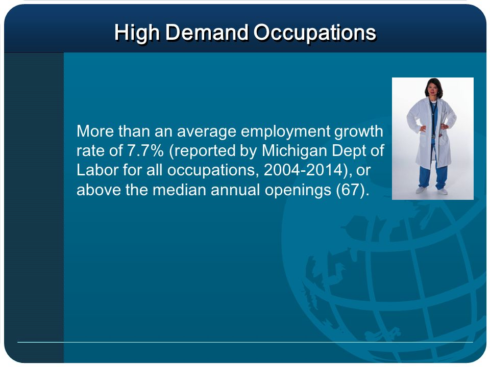 High Demand Occupations More than an average employment growth rate of 7.7% (reported by Michigan Dept of Labor for all occupations, ), or above the median annual openings (67).