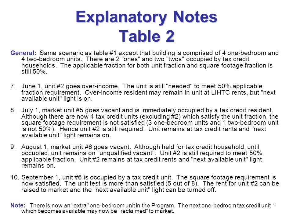 5 Explanatory Notes Table 2 General:Same scenario as table #1 except that building is comprised of 4 one-bedroom and 4 two-bedroom units.
