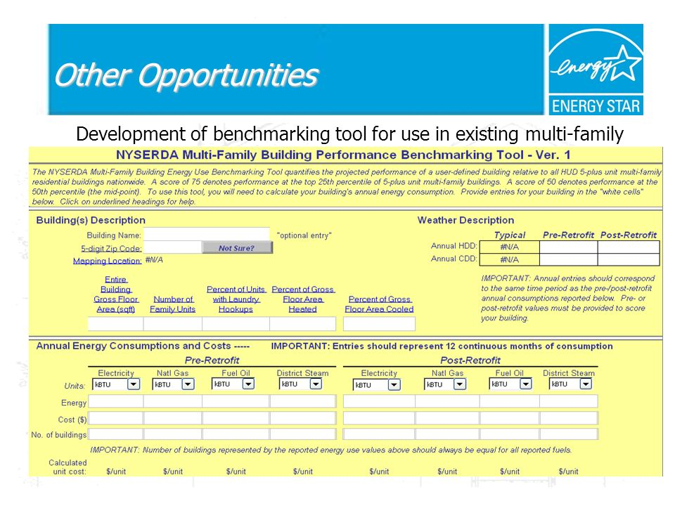 Other Opportunities Development of benchmarking tool for use in existing multi-family