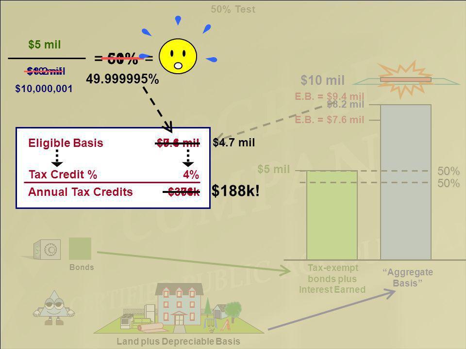 $5 mil Land plus Depreciable Basis Bonds Aggregate Basis 50% Aggregate Basis = $8.2 mil $5 mil E.B.
