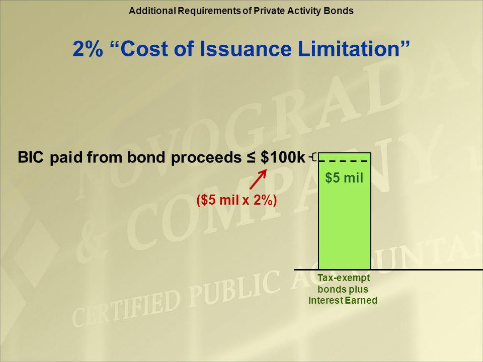 Additional Requirements of Private Activity Bonds Portion of acquisition financed with bonds = $10 mil Rehab $1.5 million 15% rehab requirement on acquisition 15%