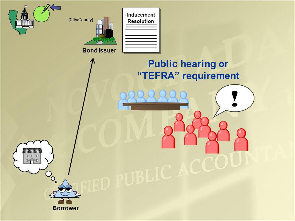 Bond Issuer (City/County) Borrower Inducement Resolution Public hearing or TEFRA requirement