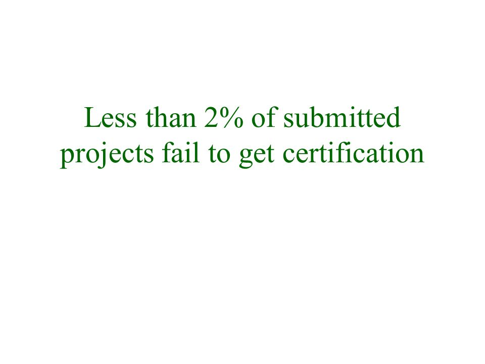 Less than 2% of submitted projects fail to get certification