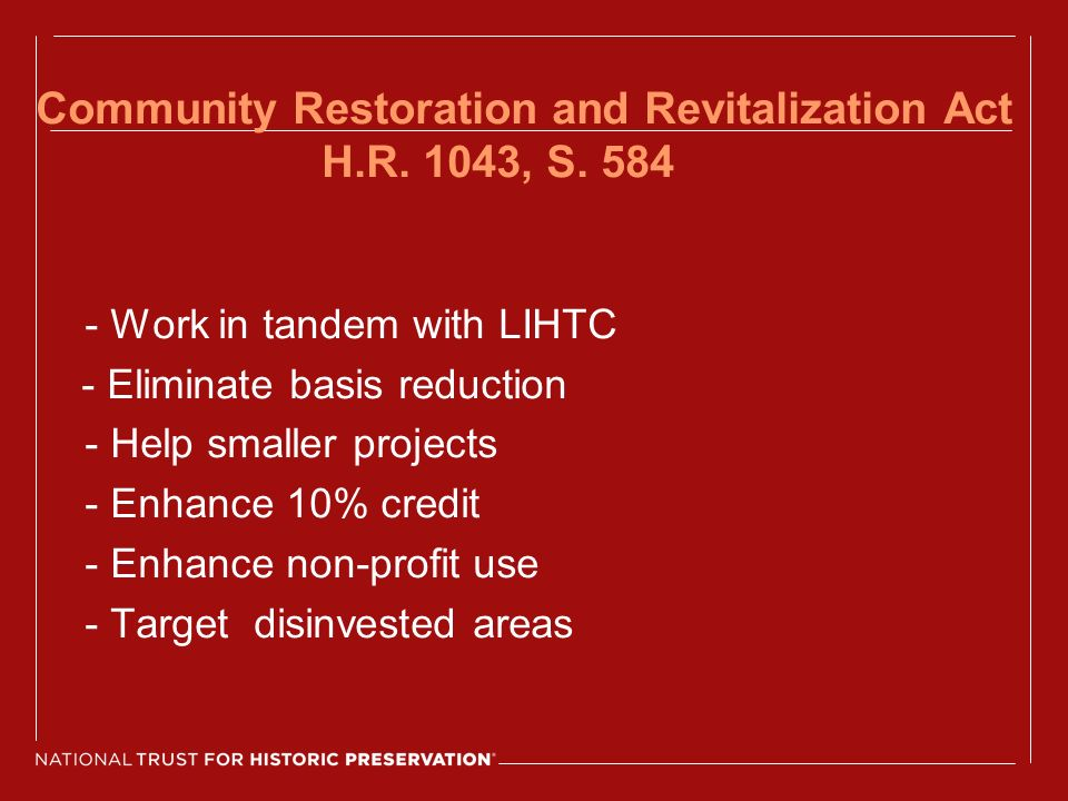 Community Restoration and Revitalization Act H.R. 1043, S.