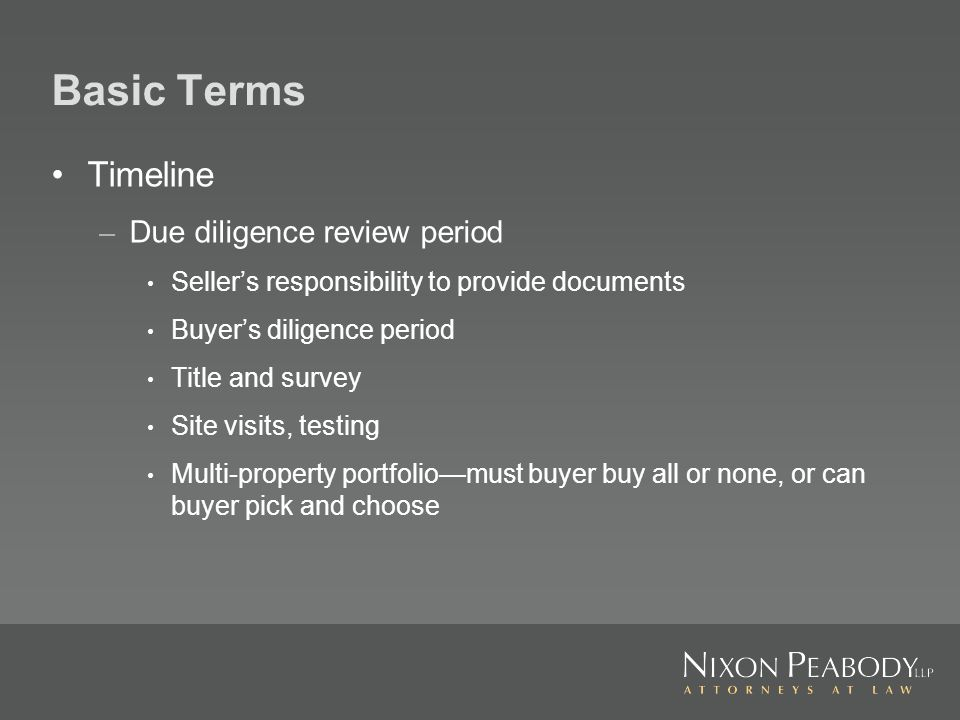 Basic Terms Timeline – Additional time to obtain third party consents – Rights to extend closing date to cure defaults