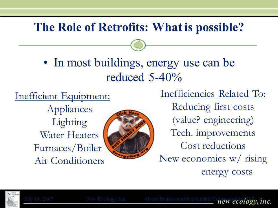 new ecology, inc. July 19, 2007 New Ecology, Inc. Green Homes and Sustainable Communities 2007 The Role of Retrofits: What is possible? In most buildi