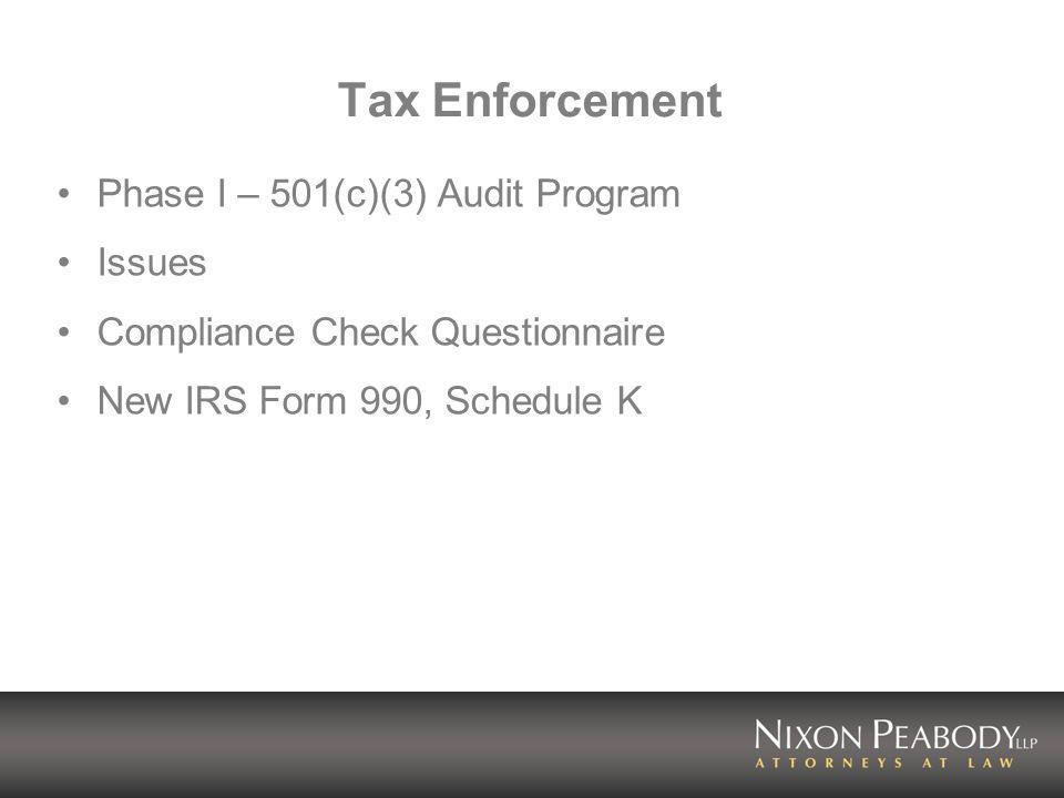 Tax Enforcement Phase I – 501(c)(3) Audit Program Issues Compliance Check Questionnaire New IRS Form 990, Schedule K