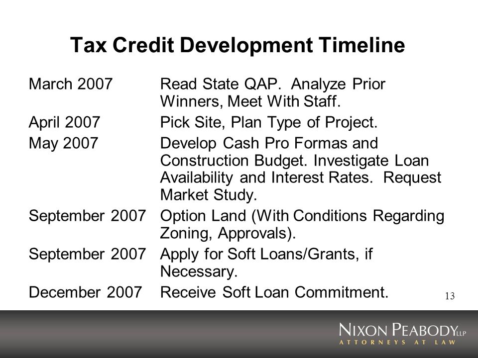 13 Tax Credit Development Timeline March 2007Read State QAP.
