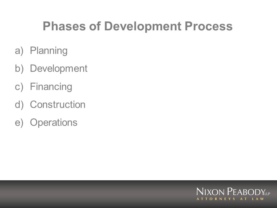Phases of Development Process a)Planning b)Development c)Financing d)Construction e)Operations