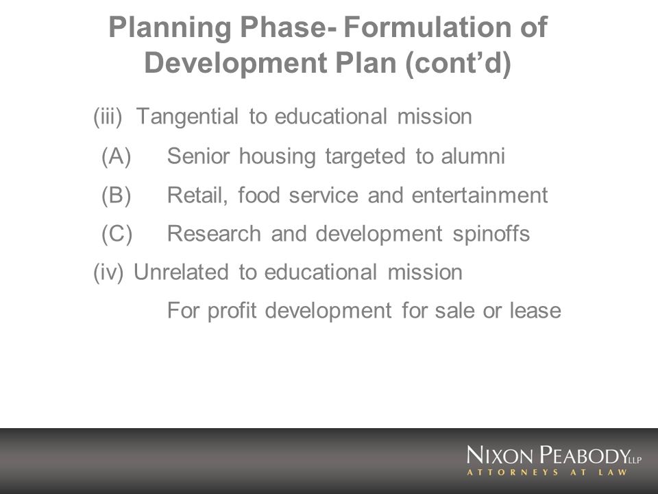 Planning Phase- Formulation of Development Plan (contd) (b) Other Planning Considerations (i) Maximize return by realizing highest price or rent obtainable.