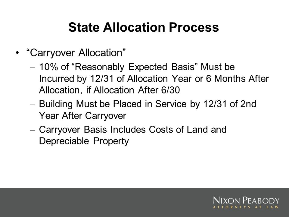 State Allocation Process Carryover Allocation – 10% of Reasonably Expected Basis Must be Incurred by 12/31 of Allocation Year or 6 Months After Allocation, if Allocation After 6/30 – Building Must be Placed in Service by 12/31 of 2nd Year After Carryover – Carryover Basis Includes Costs of Land and Depreciable Property