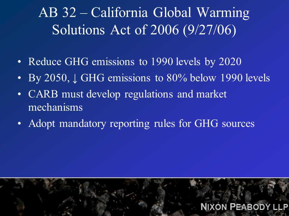 N IXON P EABODY LLP AB 32 – California Global Warming Solutions Act of 2006 (9/27/06) Reduce GHG emissions to 1990 levels by 2020 By 2050, GHG emissions to 80% below 1990 levels CARB must develop regulations and market mechanisms Adopt mandatory reporting rules for GHG sources