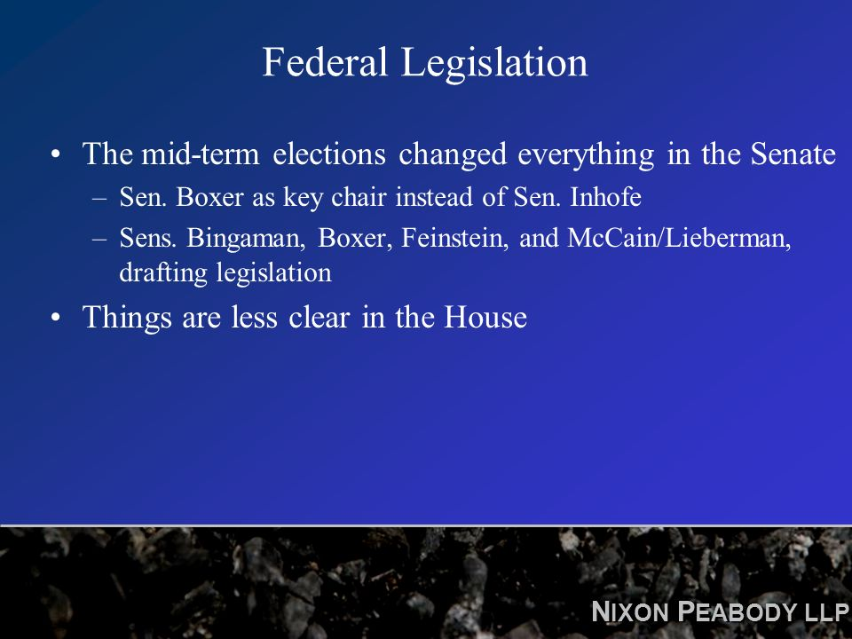 N IXON P EABODY LLP Federal Legislation The mid-term elections changed everything in the Senate –Sen.