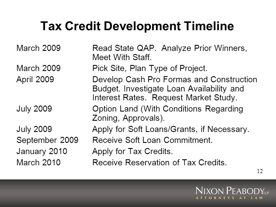 12 Tax Credit Development Timeline March 2009Read State QAP. Analyze Prior Winners, Meet With Staff. March 2009Pick Site, Plan Type of Project. April