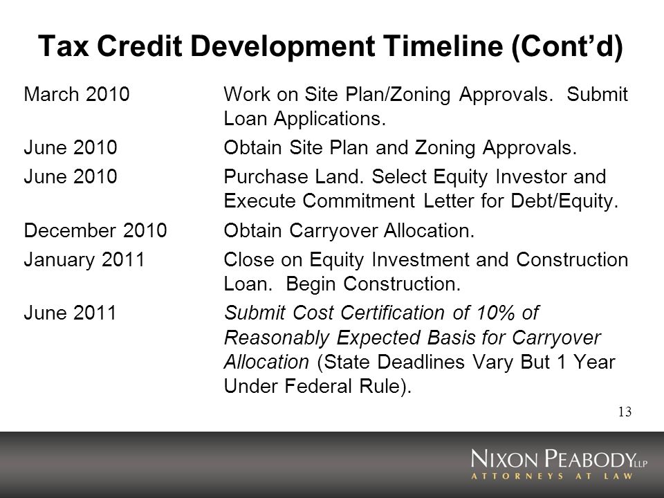13 Tax Credit Development Timeline (Contd) March 2010Work on Site Plan/Zoning Approvals. Submit Loan Applications. June 2010 Obtain Site Plan and Zoni