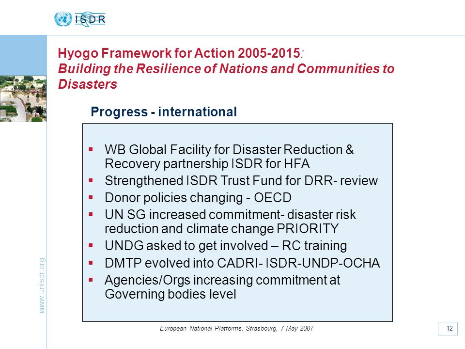 www.unisdr.org 12 European National Platforms, Strasbourg, 7 May 2007 Hyogo Framework for Action 2005-2015: Building the Resilience of Nations and Com