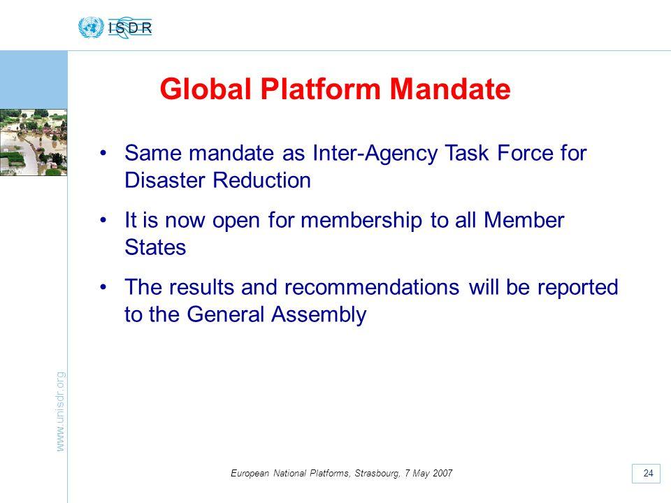 www.unisdr.org 24 European National Platforms, Strasbourg, 7 May 2007 Global Platform Mandate Same mandate as Inter-Agency Task Force for Disaster Red