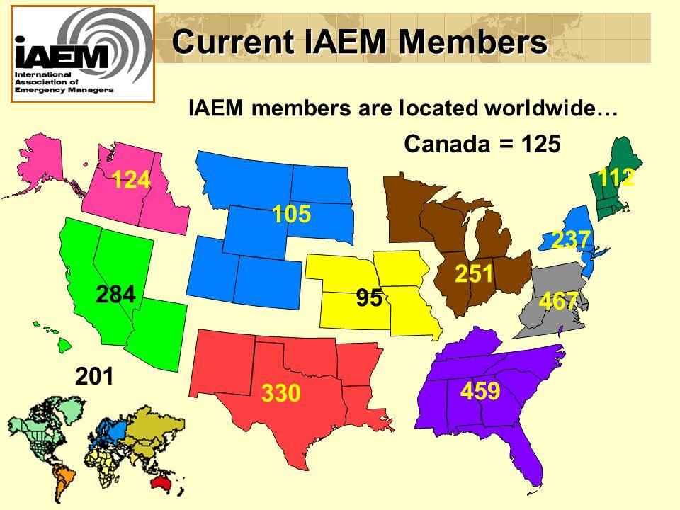 124 237 112 467 459 251 95 105 330 284 201 Current IAEM Members IAEM members are located worldwide… Canada = 125
