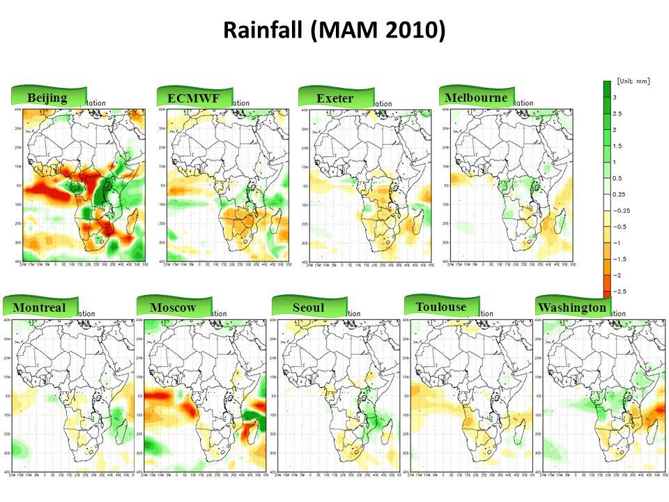 Melbourne Exeter Beijing ECMWF MontrealMoscowSeoul Toulouse Washington Rainfall (MAM 2010)
