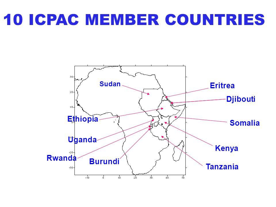 Djibouti Ethiopia Eritrea Somalia Kenya Burundi Rwanda Uganda Tanzania Sudan 10 ICPAC MEMBER COUNTRIES