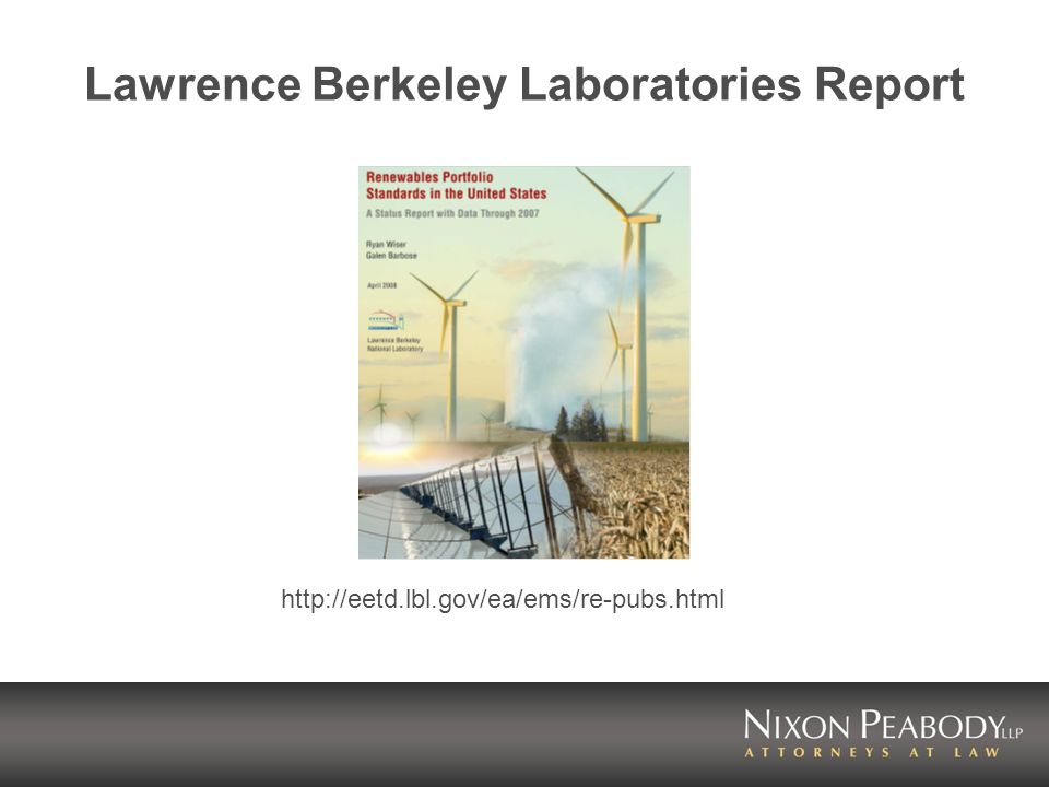Lawrence Berkeley Laboratories Report