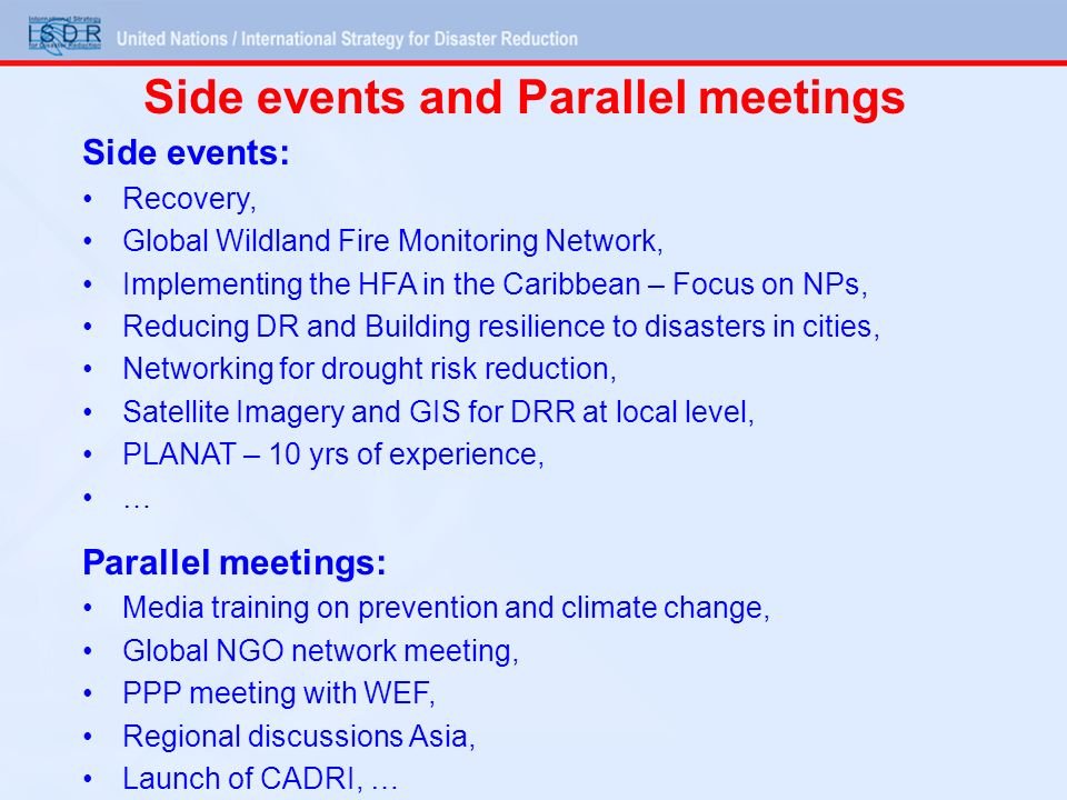 Side events and Parallel meetings Side events: Recovery, Global Wildland Fire Monitoring Network, Implementing the HFA in the Caribbean – Focus on NPs