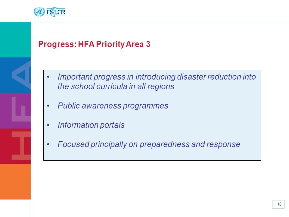 www.unisdr.org 10 Progress: HFA Priority Area 3 Important progress in introducing disaster reduction into the school curricula in all regions Public a