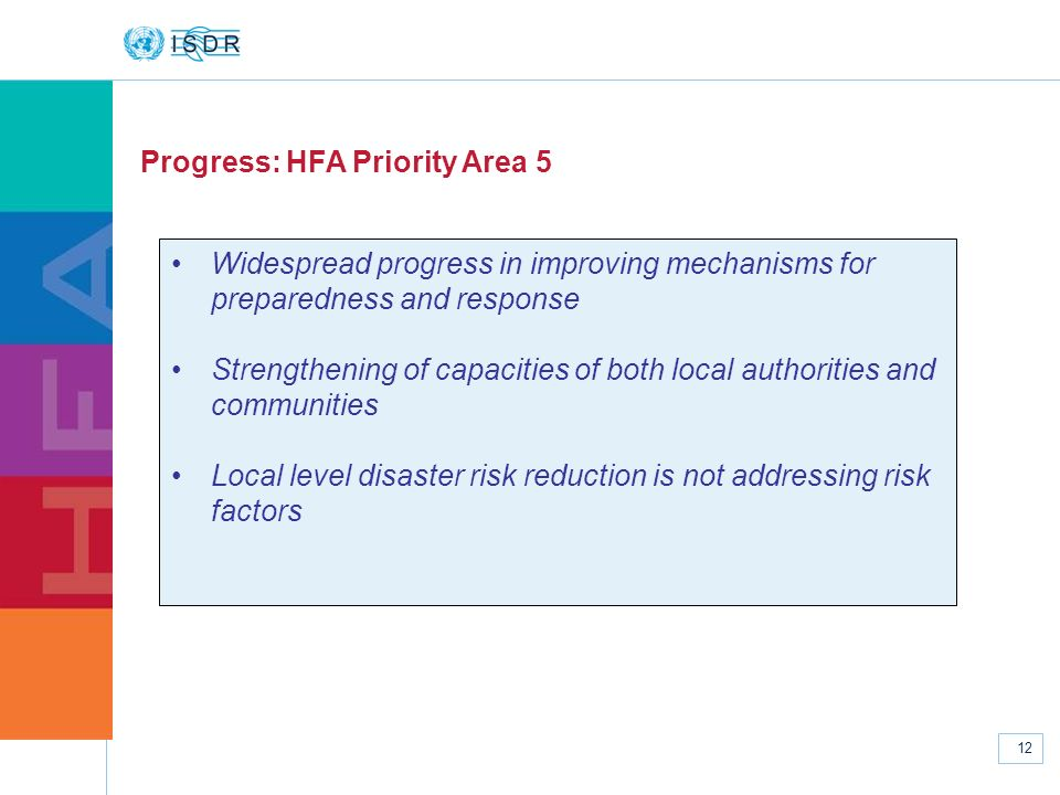 www.unisdr.org 12 Progress: HFA Priority Area 5 Widespread progress in improving mechanisms for preparedness and response Strengthening of capacities
