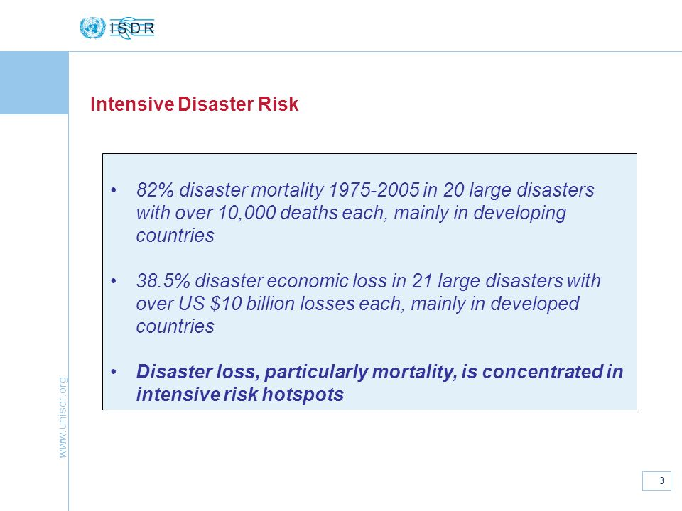 www.unisdr.org 3 Intensive Disaster Risk 82% disaster mortality 1975-2005 in 20 large disasters with over 10,000 deaths each, mainly in developing cou