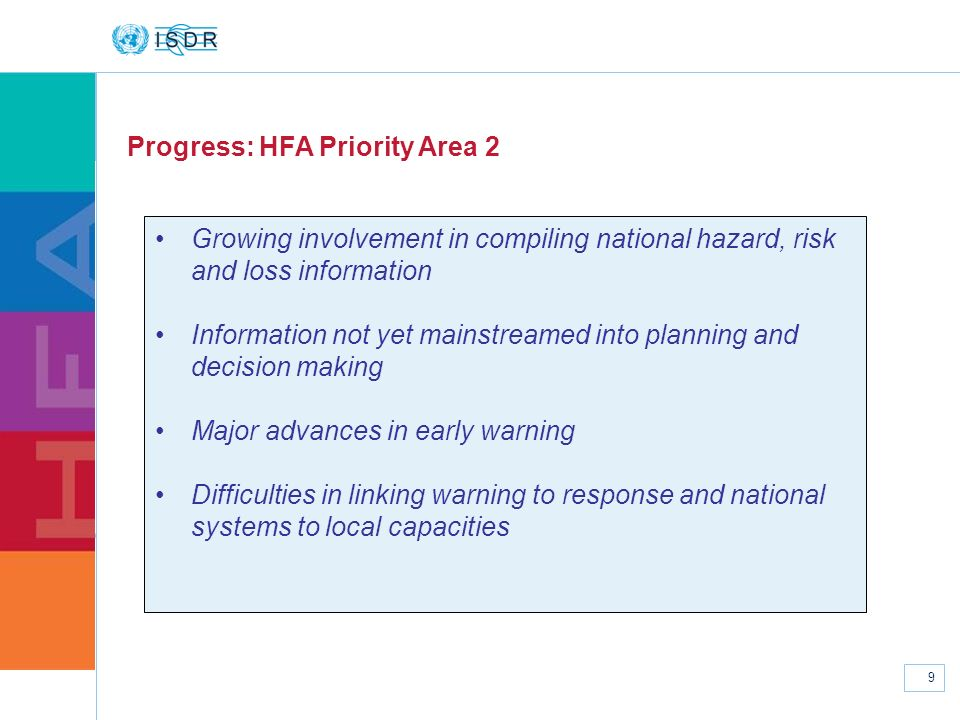 www.unisdr.org 9 Progress: HFA Priority Area 2 Growing involvement in compiling national hazard, risk and loss information Information not yet mainstr