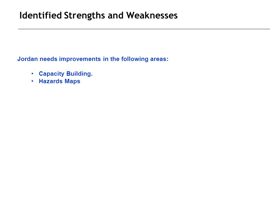 Identified Strengths and Weaknesses Jordan needs improvements in the following areas: Capacity Building.