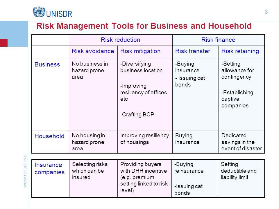 www.unisdr.org 8 Risk Management Tools for Business and Household Risk reductionRisk finance Risk avoidanceRisk mitigationRisk transferRisk retaining