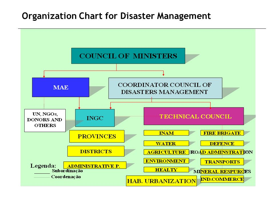 Organization Chart for Disaster Management