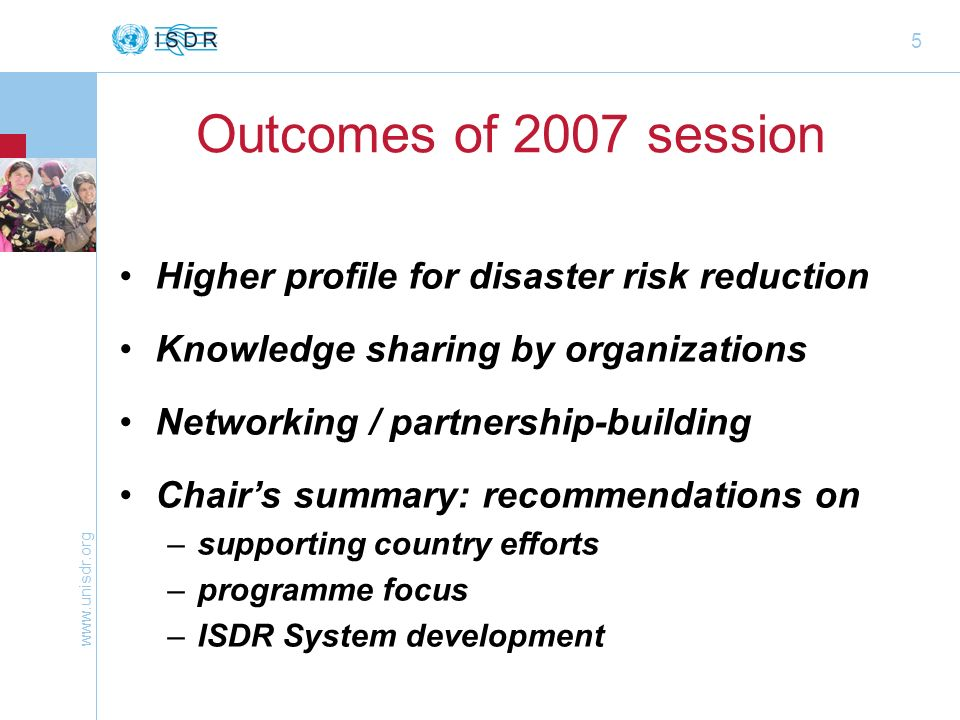 www.unisdr.org 16 Governments role Participate in preparations through Support Group –before & in follow-up to Global Platform (e.g.