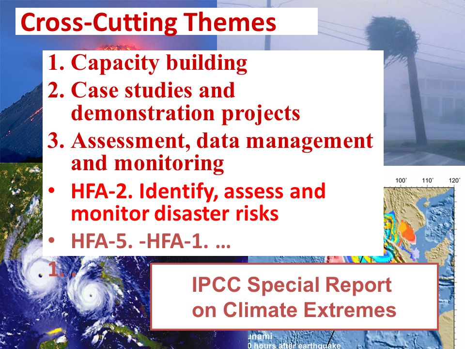 Cross-Cutting Themes 1.Capacity building 2.Case studies and demonstration projects 3.Assessment, data management and monitoring HFA-2. Identify, asses