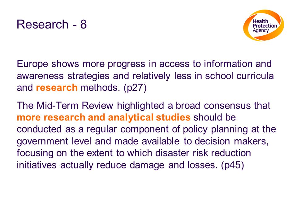 Research - 8 Europe shows more progress in access to information and awareness strategies and relatively less in school curricula and research methods