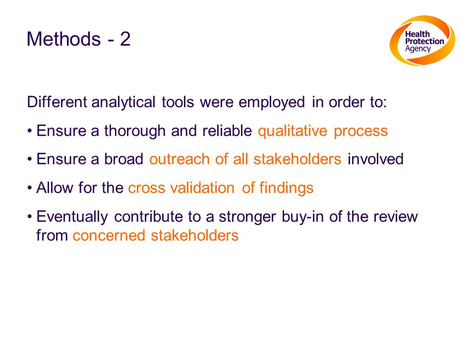 Methods - 2 Different analytical tools were employed in order to: Ensure a thorough and reliable qualitative process Ensure a broad outreach of all st
