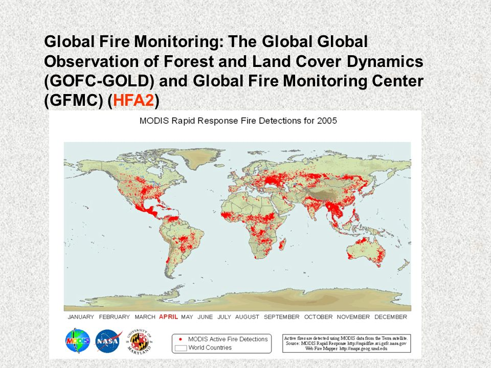 Global Fire Monitoring: The Global Global Observation of Forest and Land Cover Dynamics (GOFC-GOLD) and Global Fire Monitoring Center (GFMC) (HFA2)